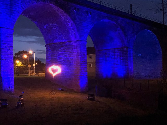 Coatdyke viaduct Lit It Blue in support of NHS: 20200507 204943502 iOS