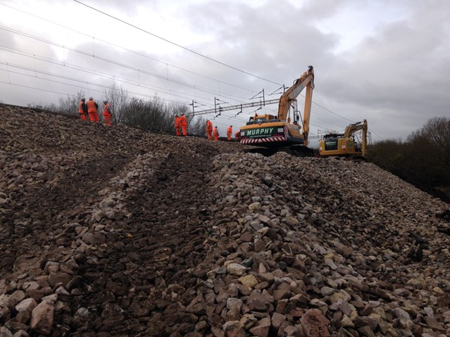 Leighton Buzzard railway to fully reopen on Friday: Repairs being made on the bank slip at Leighton Buzzard