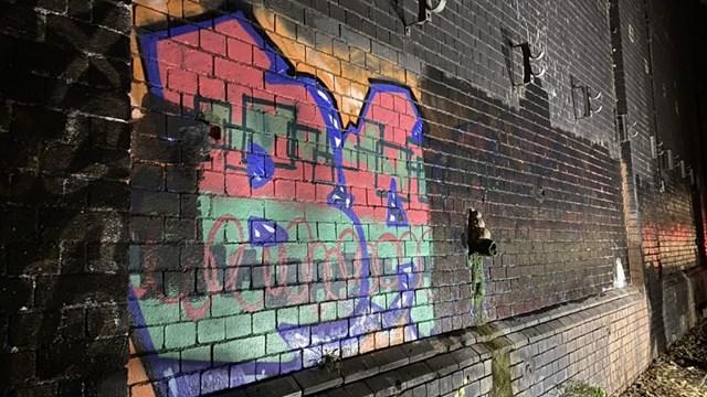 Euston graffiti clearing in progress