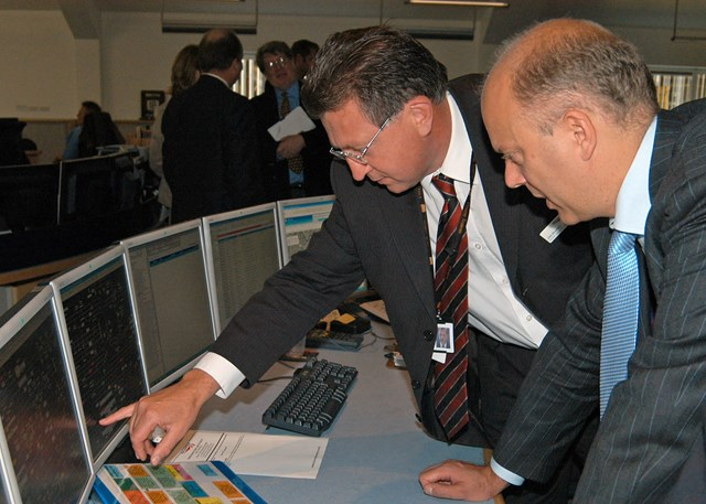 Chris Grayling visits the ICC in York: Chris Grayling MP is shown the ropes by Network Rail's Current Operations Manager, John Bowdery.