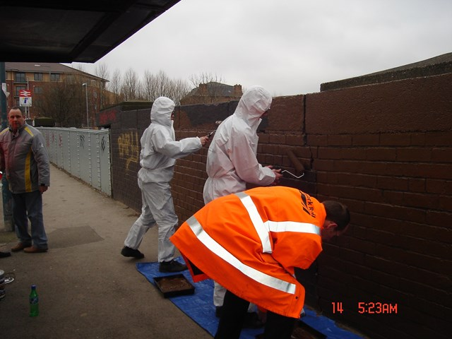 Young Offenders in Sheffield_002: completing reperation work on a bridge at Woodhouse