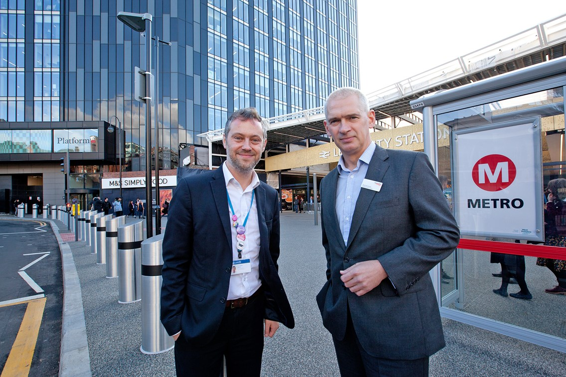 Celebrations as Leeds reaps benefits of major station improvements – and more investment to come: L to R - Leeds City Council and West Yorkshire Combined Authority Transport Committee member Cllr Peter Carlill and Rob McIntosh, Managing Director, Eastern, for Network Rail-3