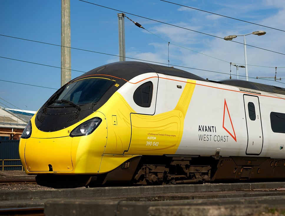 Pendolino wears a face covering to promote new guidance: Safe travels & face covering Pendolino 2