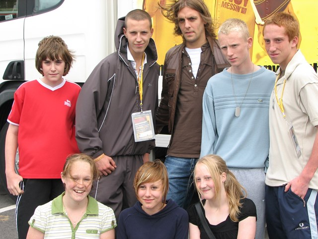 Jonathan Woodgate at Middlesbrough No Messin' Live! 2007: Middlebrough FC's Jonathan Woodgate meets young people attending the No Messin' Live! event held in Stockton, Middlesbrough on 20 and 21 August 2007
