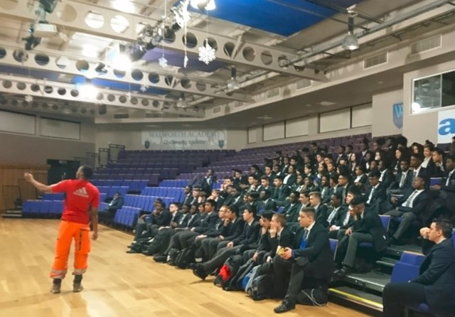 Apprentices from Network Rail's Thameslink Programme inspire young people to consider an apprenticeship on the railway: Thameslink apprentice at Walworth