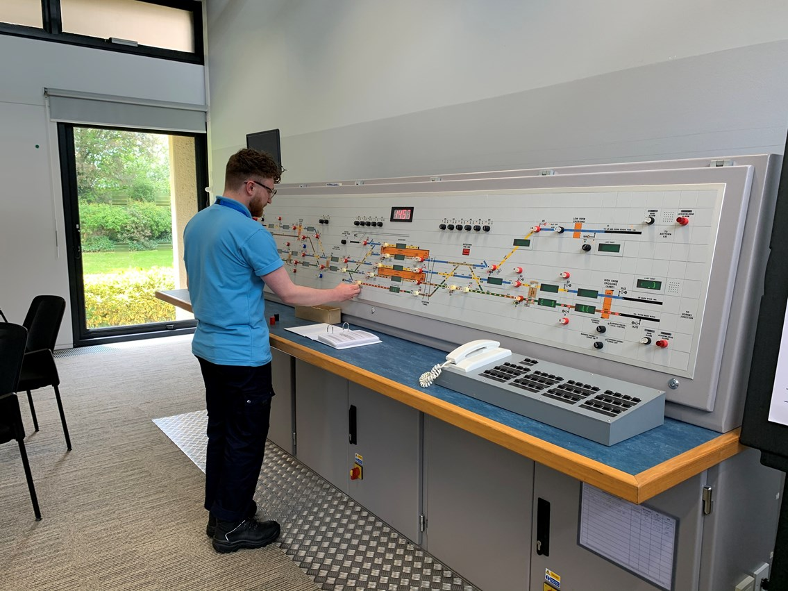 Network Rail's 3000th apprentice takes up his station at Suffolk signal box: image00003