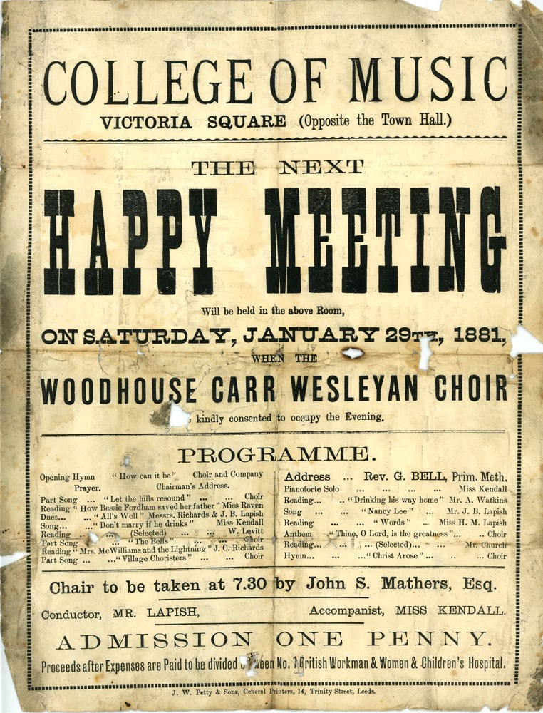 Sounds of Our City: Poster for Happy Meeting concert with Woodhouse Carr Wesleyan Choir, 1881.