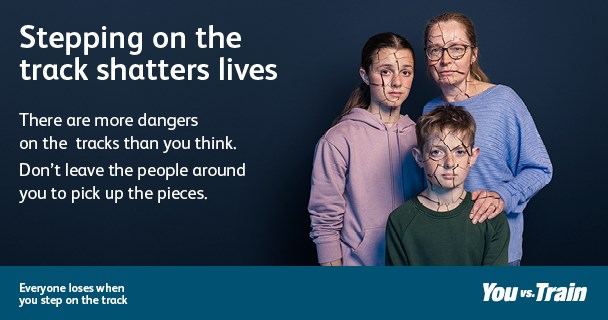 Network Rail warns people in Newcastle of the dangers of trespassing after a third of British adults admit they would step onto the track to retrieve their mobile phone: Shattered Lives Trespass campaign