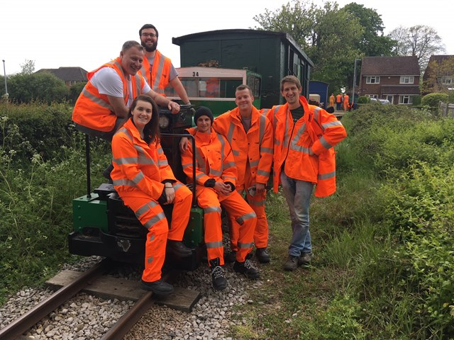 Andrew Robinson (capacity analysis project manager), Emma Walker (senior network analyst) and Luke Little, Mike Gregory, Paul Farmer and Fred Noble (network analysts) from Network Rail