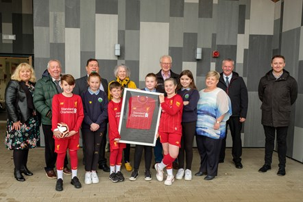 Spirit of Shankly presentation with Barbara Alexander, Cllrs Reid, Roberts, McGhee, Simmons, Chief Executive Eddie Fraser, HT Anne McLean and Adam Strain from Vibrant Communities