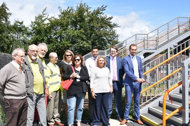 Network Rail unveils new bridge in Dorset to improve pedestrian safety: Network Rail is joined by Dorset County  Council, Purbeck District Council and Wool Parish Council for the opening of the new footbridge at Wool 1