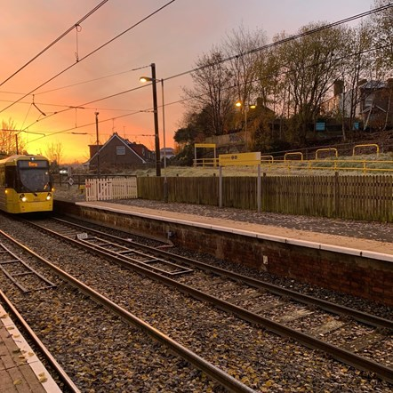 New Metrolink fares unveiled, including a price freeze on all single journeys and cheaper tickets for early risers and part-time workers: Whitefield (1) sunrise with tram