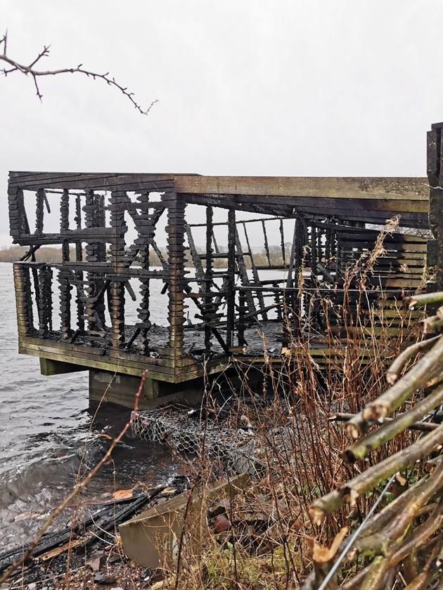 Shock and sadness as award-winning bird hide destroyed: The hide after the fire 3 ©Simon Ritchie/NatureScot