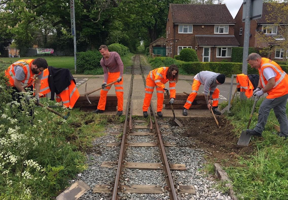 Network Rail volunteers working on Leighton Buzzard Railway