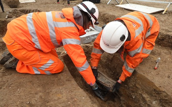Removing the breast plate of Captain Matthew Flinders September 2020: (Captain Matthew Flinders, Euston, Britain's Biggest Dig, London) Internal Asset No. 2389