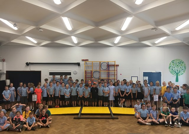 Over ninety Meole Brace Primary School took part in the rail safety event hosted by Network Rail employees, using the model level crossing for the first time