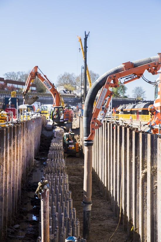 Zero Trim Piling: HS2's contractors, SCS and Skanska Cementation, have developed a new piling method which vacuum excavates piles - reducing health and safety risks, noise, man hours, and project costs. It is a world first innovation that has the potential to change how piling is done in the future.  Tags: Piling, Innovation
