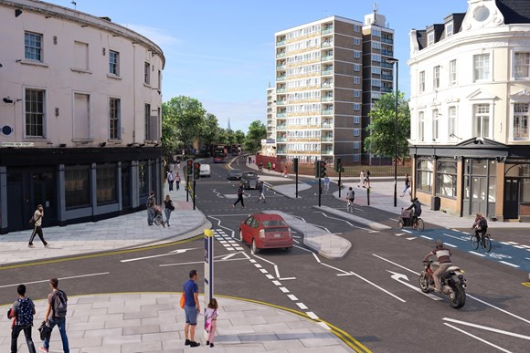 TfL Press Release - Construction work on new Cycleway reaches major milestone: TfL Image - CGI of Cycleway 4 in Deptford - copyright Transport for London