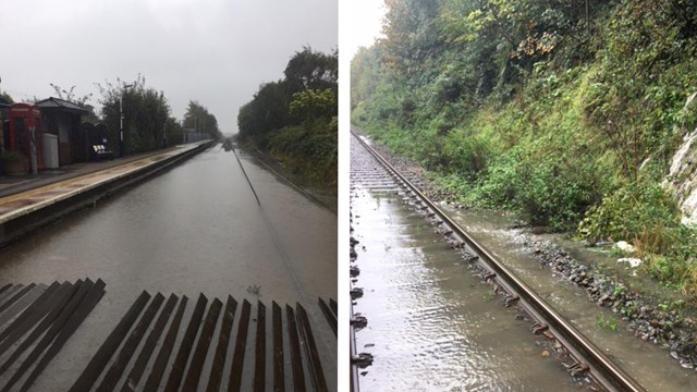 Passenger disruption as heavy rain floods railway between Wigan and Southport: Flooding between Wigan and Southport