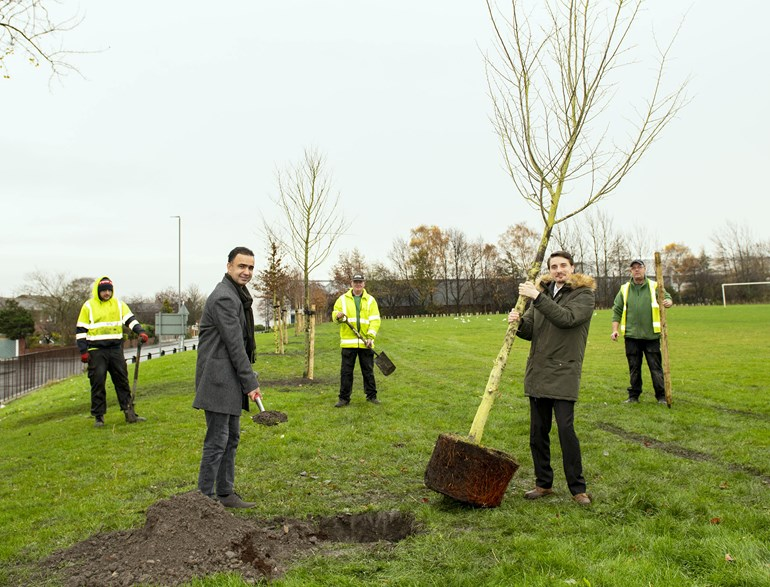 First trees planted on A61(South) Connecting Leeds scheme to celebrate National Tree Week.