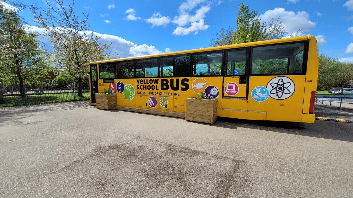 St Stephen's yellow school bus 7: A decommissioned yellow school bus, donated by TfGM to St Stephen's Primary School in Droylseden in 2019. The school turned the bus into a reading and tutoring place.