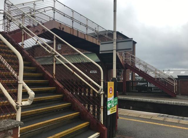 Oakham station footbridge before the revamp