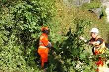 Wirral residents invited to drop-in event to learn more about vegetation work taking between Hooton and Bromborough.: Network Rail engineers clearing overgrown vegetation
