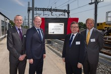 Opening of the Electrification Training Centre in Swindon: L-R: Mark Langman, Network Rail's managing director for the Western route; Justin Tomlinson, MP for North Swindon; Robert Buckland QC, MP for South Swindon; Robbie Burns, Network Rail's regional director of infrastructure projects.