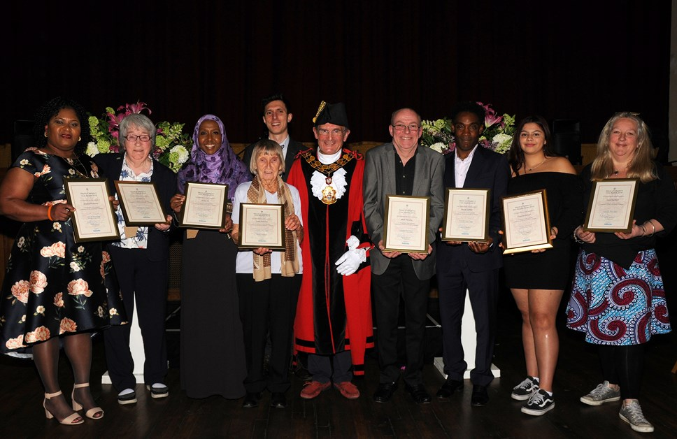 Nominate your local hero for a Mayor's Civic Award or the Ben Kinsella Award 2020: 2019 Civic Award winners with 2019 Mayor Cllr Poyser