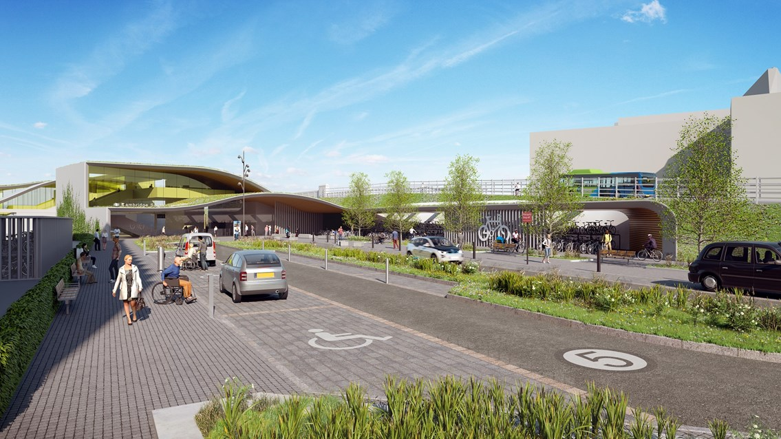 Public consultation on Cambridge South station: Indicative visualisation of Cambridge South station from the east