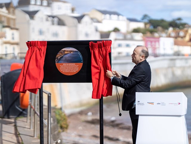 Rail Minister Chris Heaton-Harris today (25 September) officially opened the first section of the new Dawlish sea wall