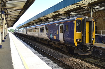 Northern's refurbished trains – creating jobs and boosting the economy: 156443 at Warrington Central 2
