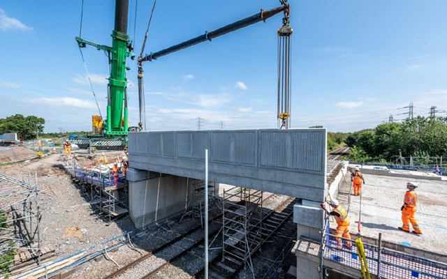 New Boulderstones bridge being lifted into place by crane in Crewe