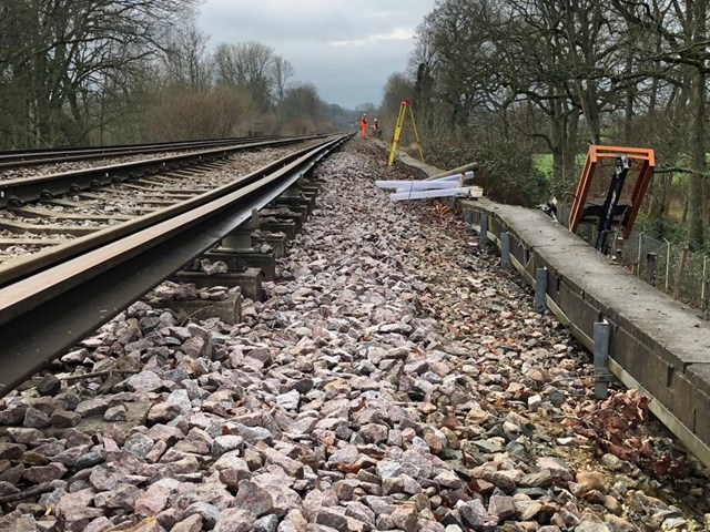 No trains on Horsham-Dorking railway until New Year as engineers start work repairing landslip: Ockley landslip - Alder Copse embankment