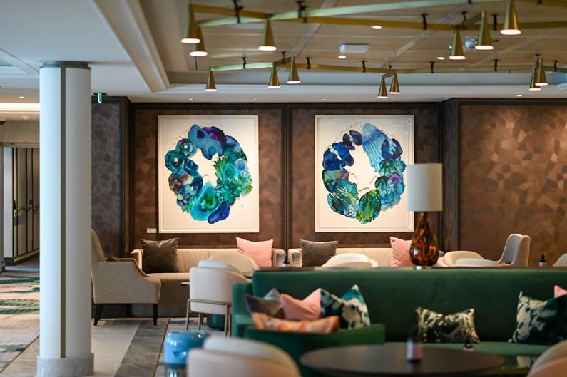 Saga Cruises' Spirit of Adventure - The Living Room and papercut ink shadows diptychs artwork