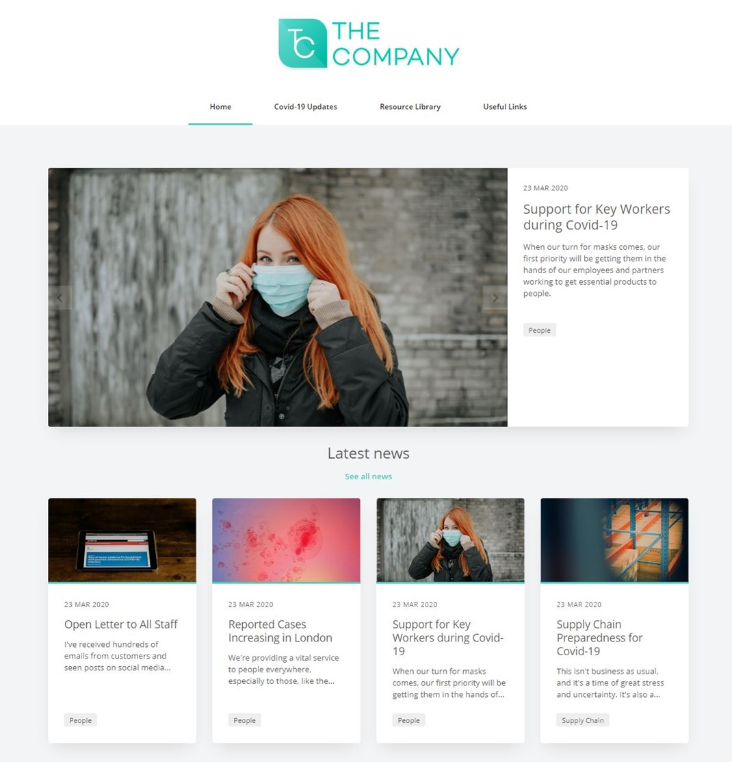 Customer Offer: Branded, Temporary Covid-19 Microsite up Within Minutes: Covid 19 Microsite