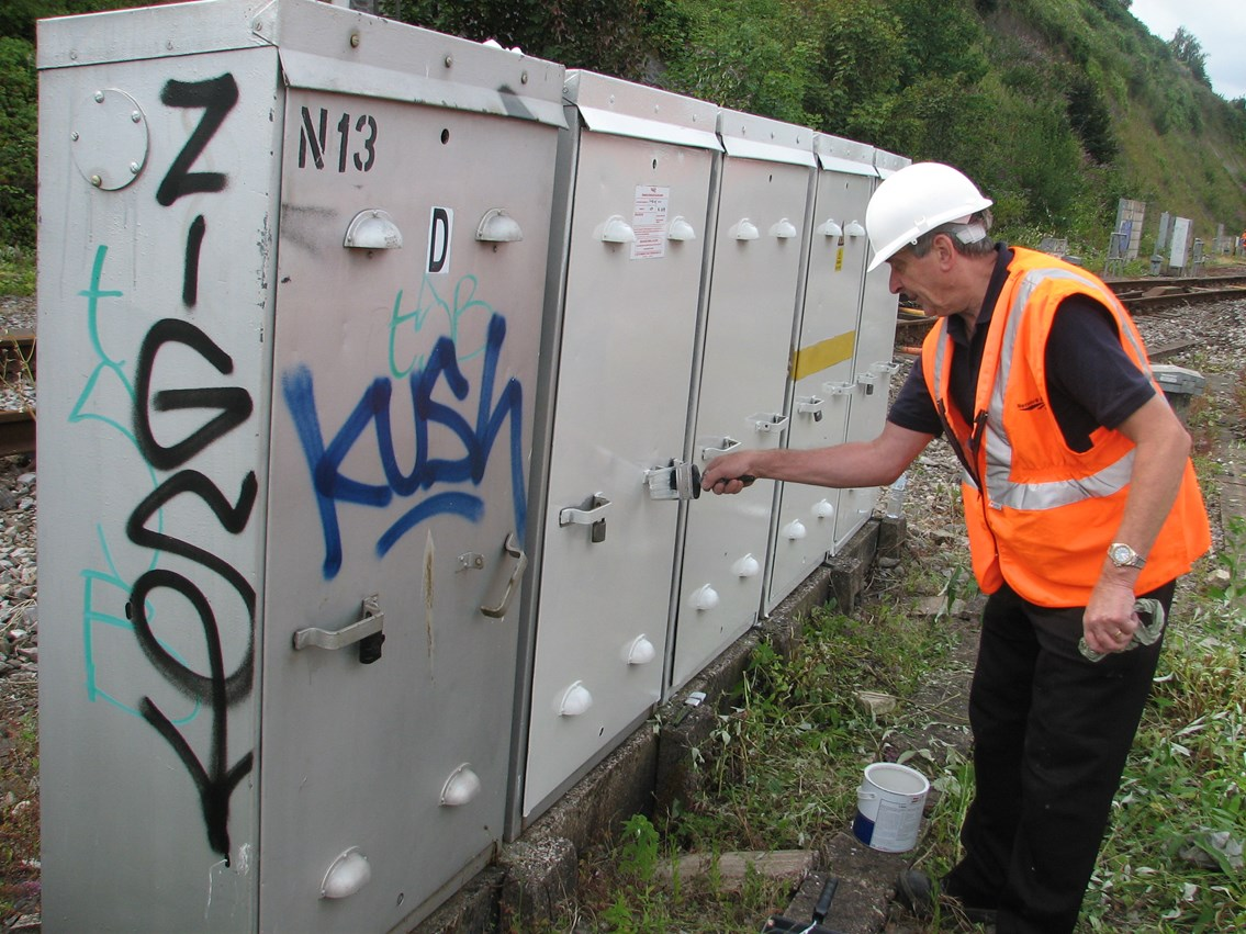 Graffiti clear up - Bristol Temple Meads: Maintenance paint out and clean graffiti on line side equipment, buildings and structures as part of the one mile clean up either side of Bristol Temple Meads station. 31 July 2006