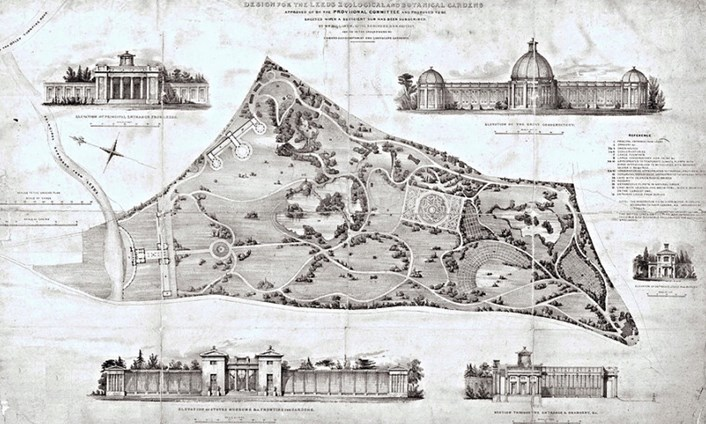 A Garden Through Time: Image showing the original plans for the Leeds Zoological and Botanical Gardens.