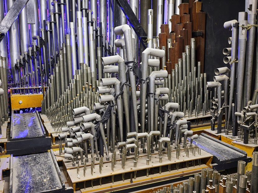 """Chance to say """"thank you for the music"""" as organ gets ready for major revamp: Interior of the Leeds Town Hall organ"""