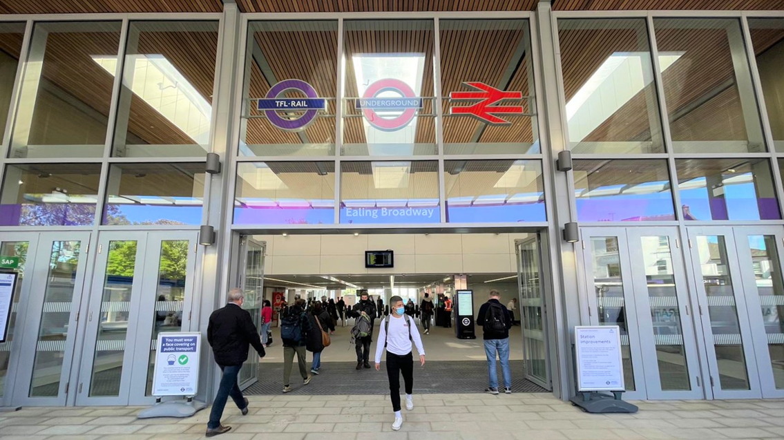 Step-free access at Ealing Broadway station as new enlarged ticket hall opens to customers: TfL Image - Ealing Broadway Station Entrance with passengers web