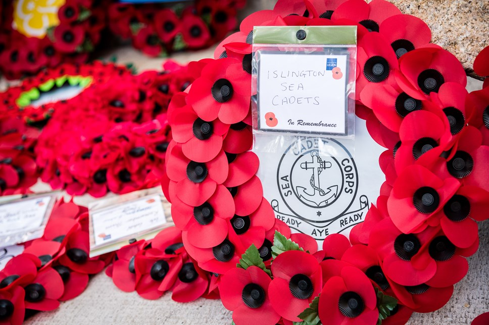 Poppy wreaths. Photo from 2019's Remembrance Sunday service at Islington Memorial Green