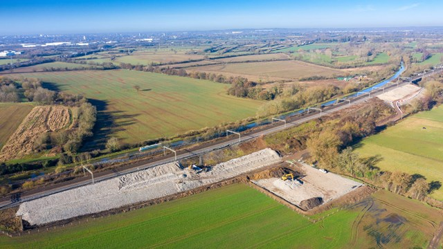 Drone shows Victorian-built railway getting 21st century upgrade: Full wide shot of 1km stretch of railway being strengthened at Hopsford Hall Spring 2021 (1)