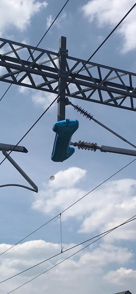 Close up of the balloon on the overhead line in Prescot