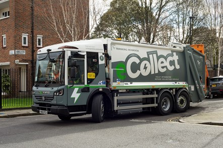 The eCollect refuse truck drives around Islington
