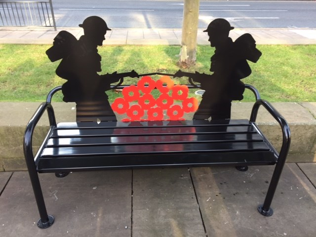 Tribute installed on Victoria Gardens to mark both Armistice Day and Remembrance Sunday: remembrancebench.jpg