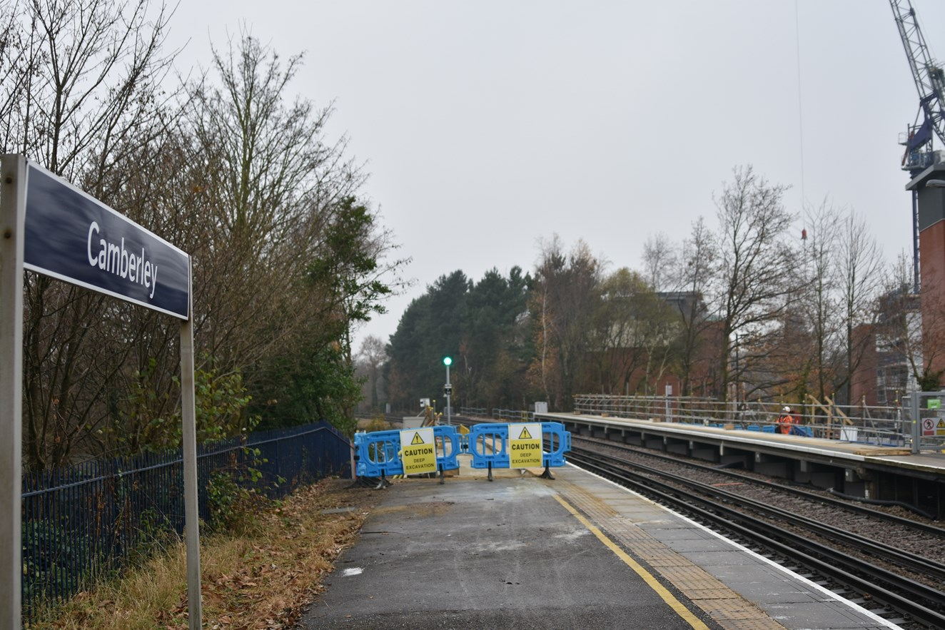 Longer platforms for longer trains: work continues apace at Camberley station: Camberley Station Platform Extensions, December 2016 (1)