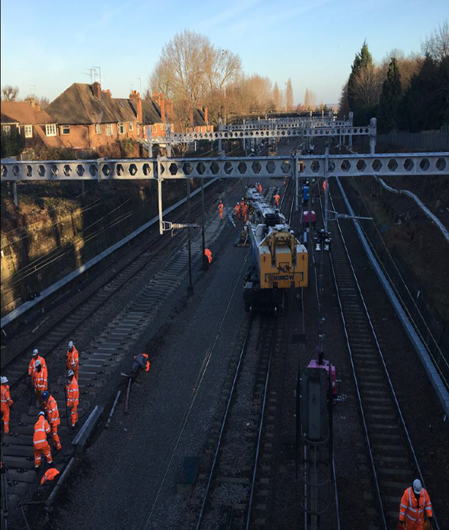 Kirow Crane in operation at Shenfield- Crossrail