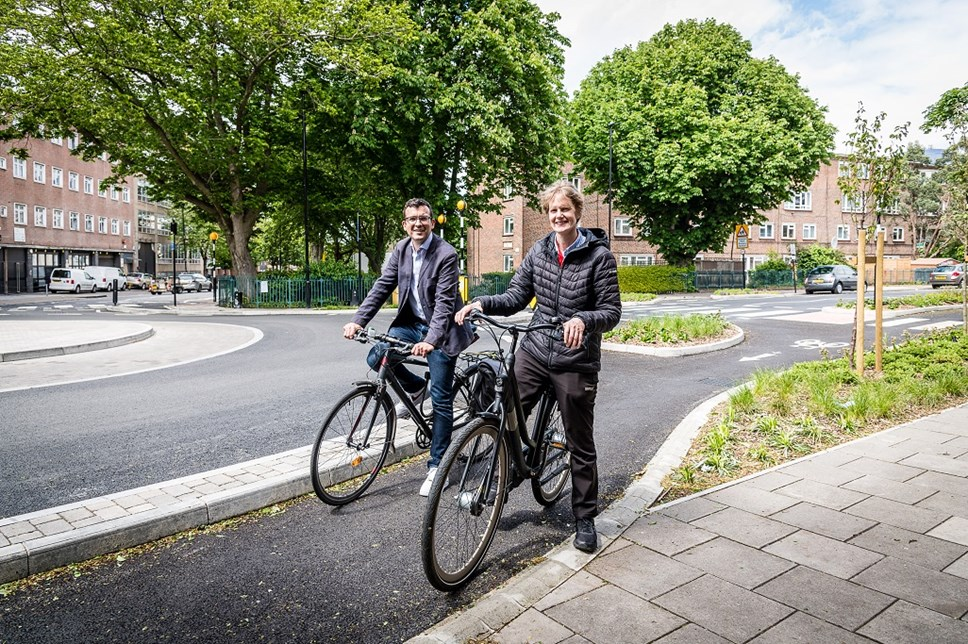 Cllr Champion and Will Norman by the new continental-style roundabout