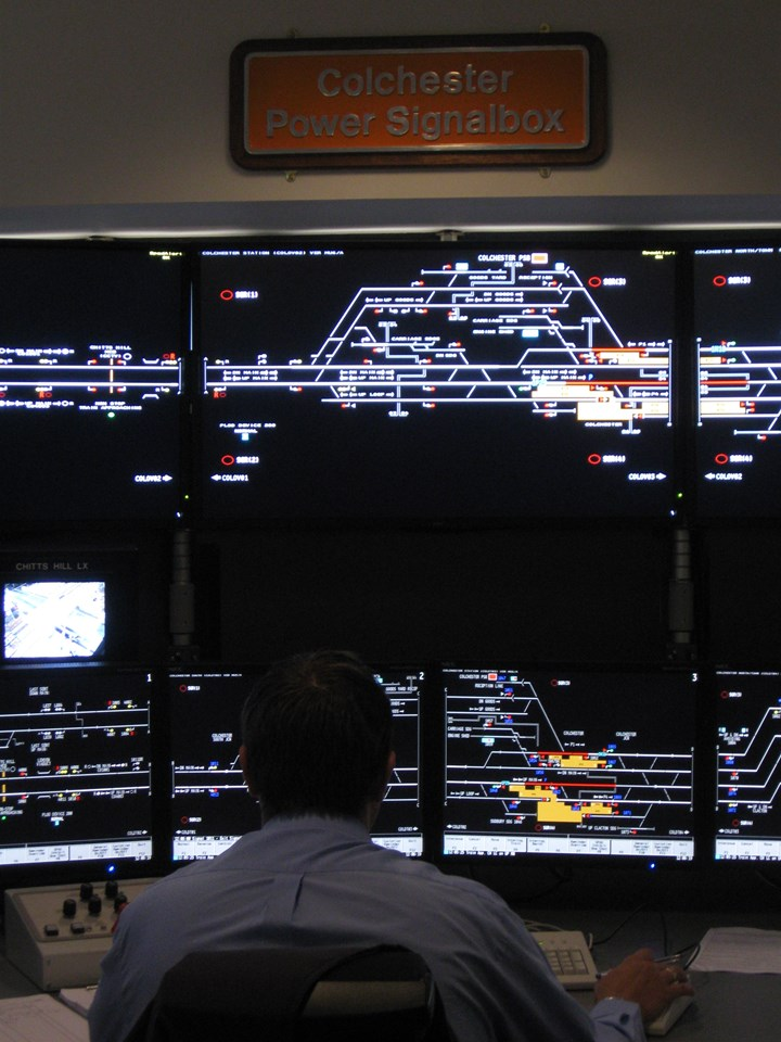 New workstations at Colchester signal box: A Network Rail signaller at work using the new, state-of-the-art visual displays installed at Colchester signal box as part of the Colchester-Clacton upgrade.