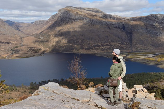 COP26: NatureScot's spokespeople and filming locations: Visitors enjoying a day out at the mountain trail, Beinn Eighe National Nature Reserve. Credit Lorne Gill-NatureScot-2